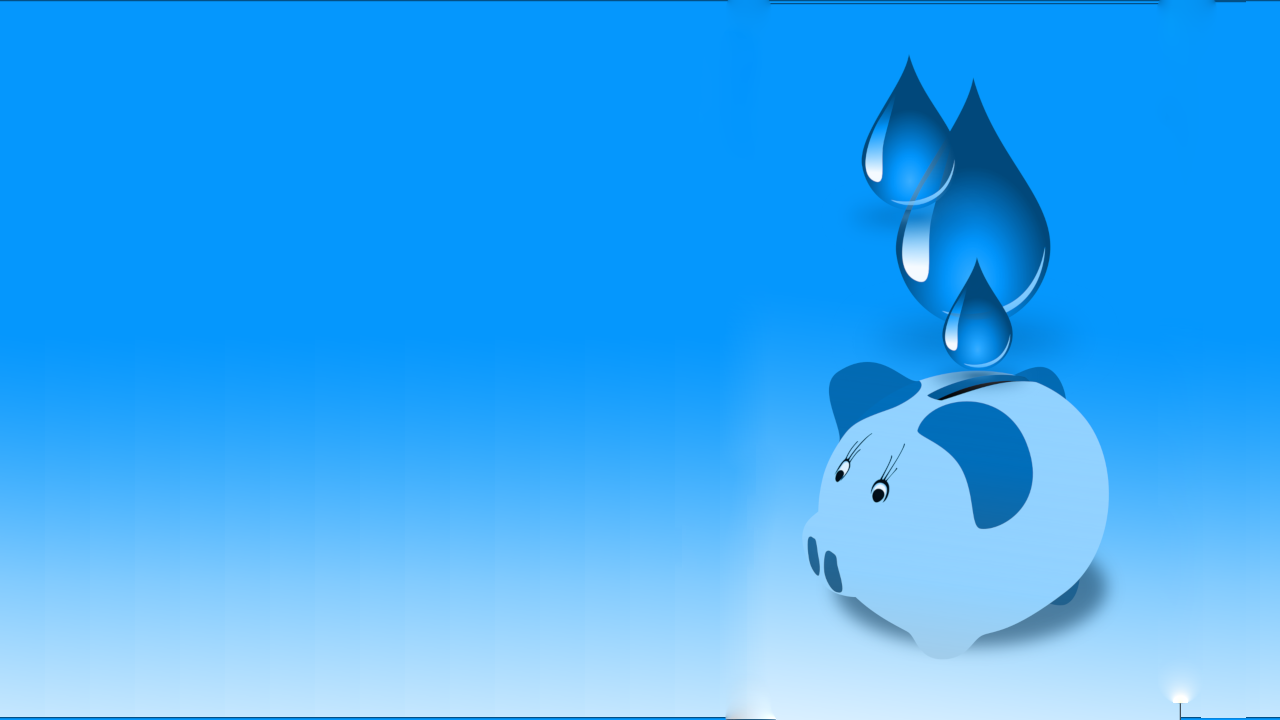 Blue background. A pig saver. Saving water.